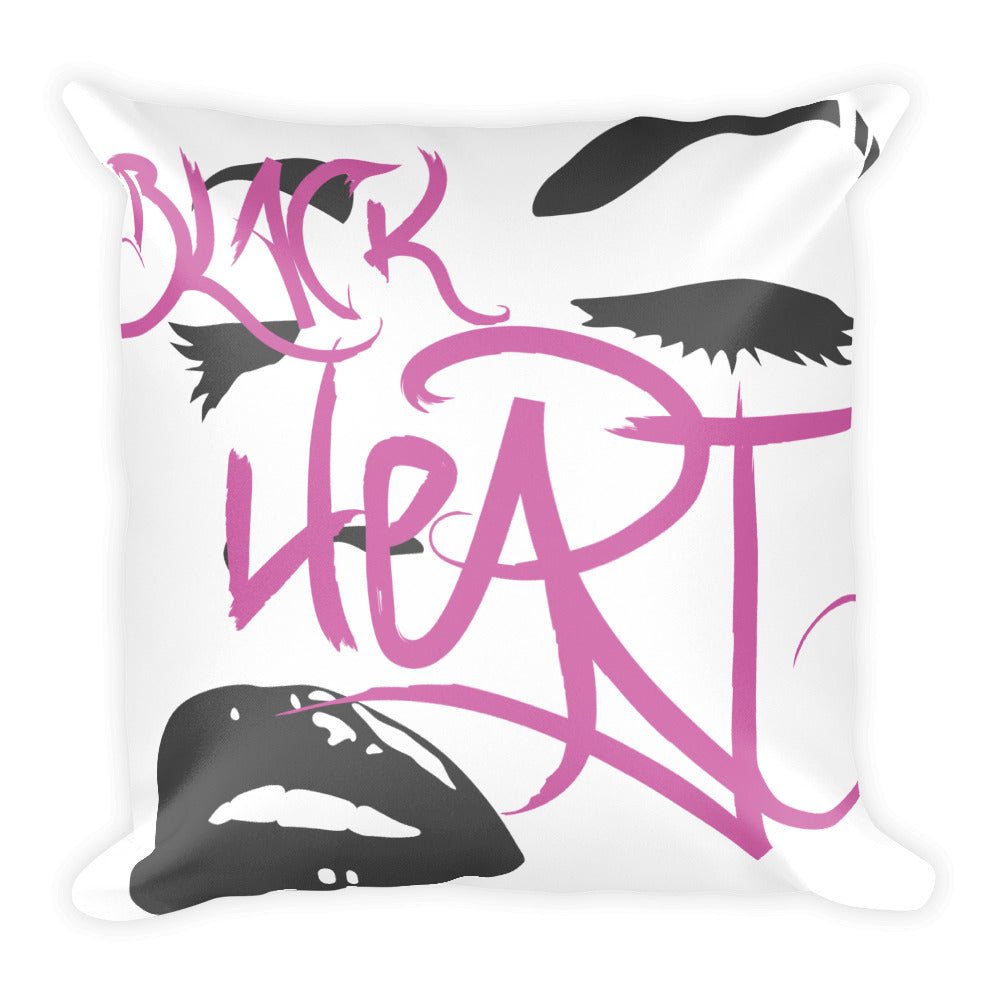Black Heart Square Pillow
