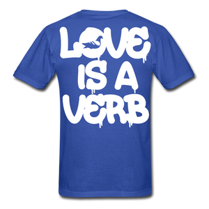 """Love is a Verb"" T-Shirt - royal blue"