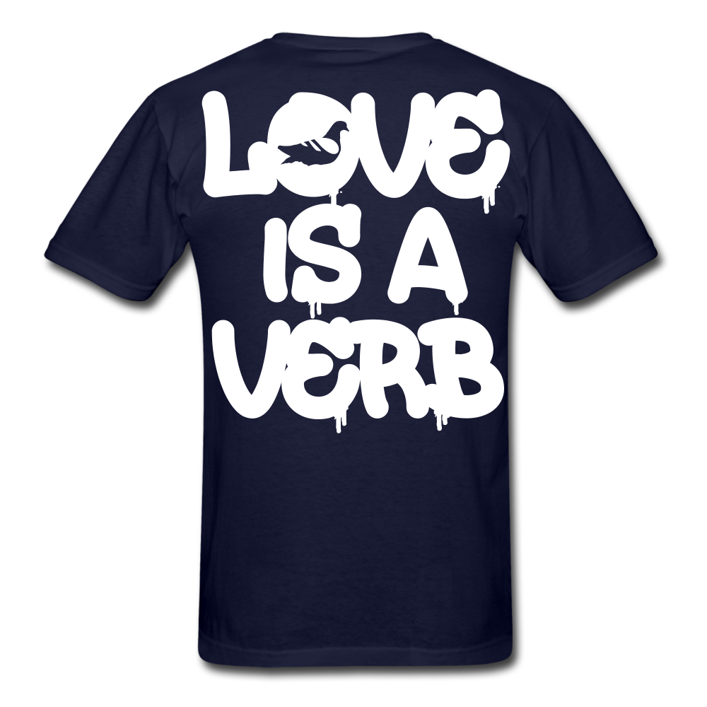 """Love is a Verb"" T-Shirt - navy"