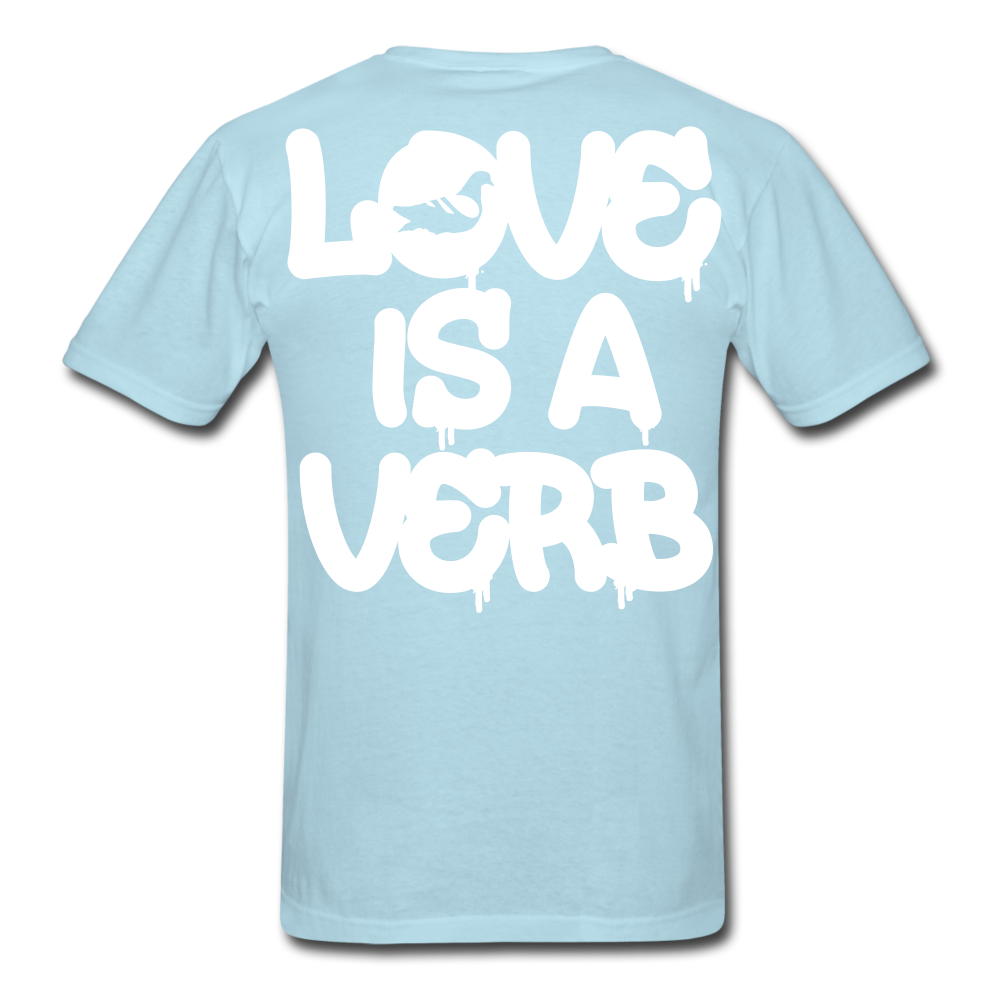 """Love is a Verb"" T-Shirt - powder blue"