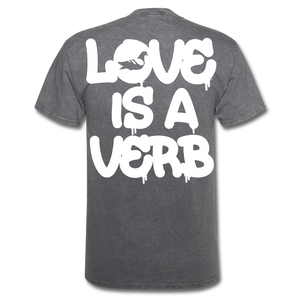 """Love is a Verb"" T-Shirt - mineral charcoal gray"