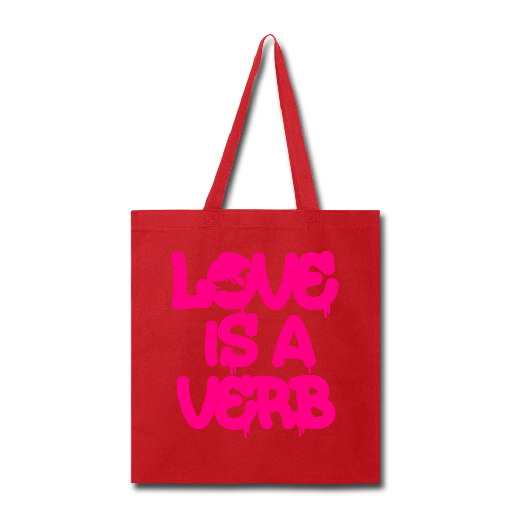 """Love is a Verb"" Tote Bag - red"