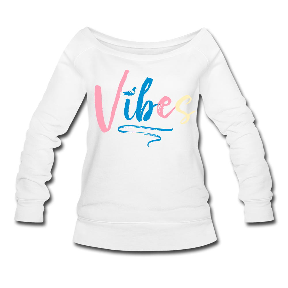 Vibes Women's Wideneck Sweatshirt - white