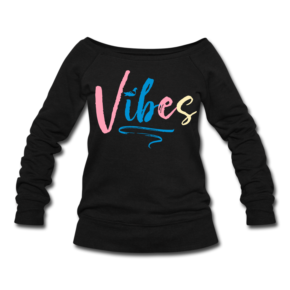 Vibes Women's Wideneck Sweatshirt - black
