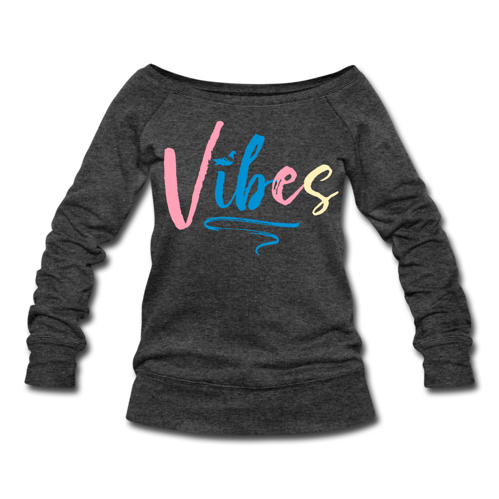 Vibes Women's Wideneck Sweatshirt - heather black