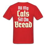 Cats Sit On Bread T-Shirt - red