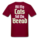 Cats Sit On Bread T-Shirt - burgundy