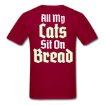 Cats Sit On Bread T-Shirt - dark red