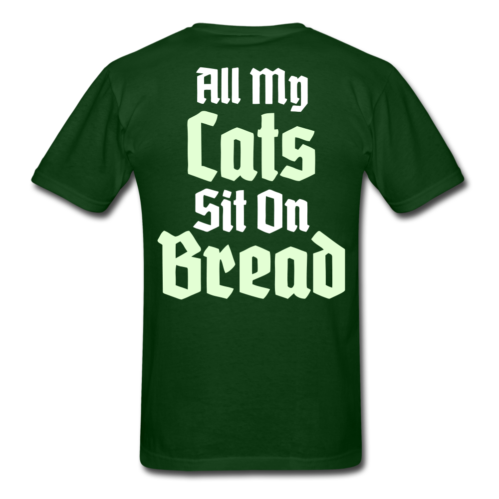 Cats Sit On Bread T-Shirt - forest green