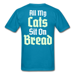 Cats Sit On Bread T-Shirt - turquoise