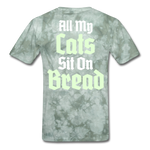 Cats Sit On Bread T-Shirt - military green tie dye