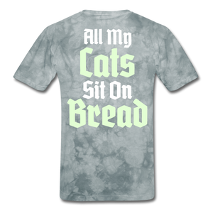 Cats Sit On Bread T-Shirt - grey tie dye