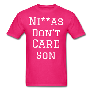 Don't Care  T-Shirt - fuchsia