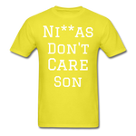 Don't Care  T-Shirt - yellow