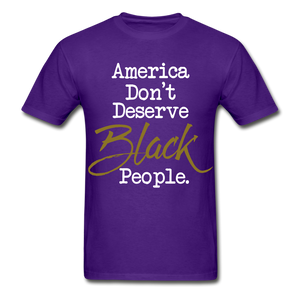 America Don't Cotton Adult T-Shirt - purple