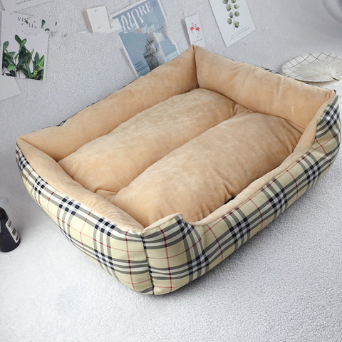 High Quality Pet Dog Cat Checkered Bed Rectangular Shaped Self-Warming Bed (Large) 65x58x16cm