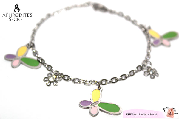 Aphrodite's Secret High Quality Stainless Steel Dangling Bracelet with Butterfly Charm Design