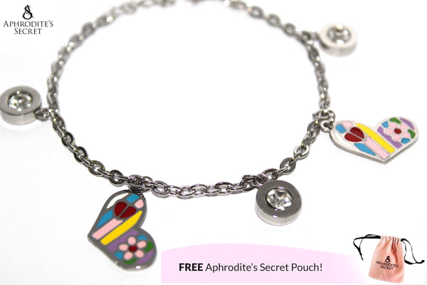 Aphrodite's Secret High Quality Stainless Steel Dangling Bracelet Colorful Heart Charm Design