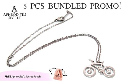 Aphrodite's Secret High Quality Stainless Steel Bicycle Design Pendant Necklace (5 PCS)