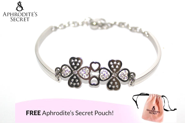 Aphrodite's Secret High Quality Stainless Steel Bracelet & Bangle Four-Leaf Flower Design