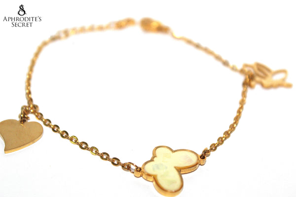 Aphrodite's Secret High Quality Stainless Steel Gold Dangling Bracelet Butterfly & Heart Charm Design