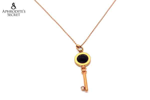 Aphrodite's Secret High Quality Stainless Steel Rose Gold Key Necklace Design