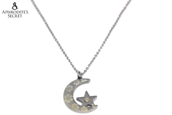 Aphrodite's Secret High Quality Stainless  Steel Necklace Crescent Moon Star Design