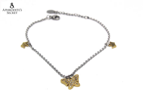 Aphrodite's Secret High Quality Stainless Steel Bracelet Two Tone Butterfly Crown Design
