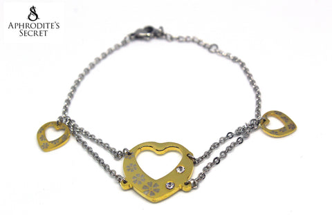 Aphrodite's Secret High Quality Stainless Steel Bracelet Two Tone Dangling Hearts Design
