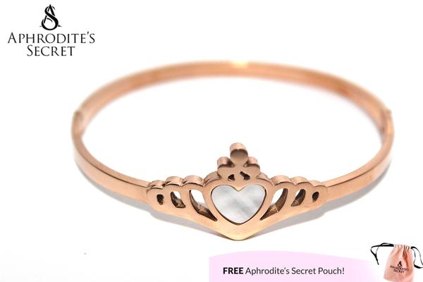 Aphrodite's Secret High Quality Stainless Steel Rose Gold Bracelet & Bangle Crown Design (5 PCS)