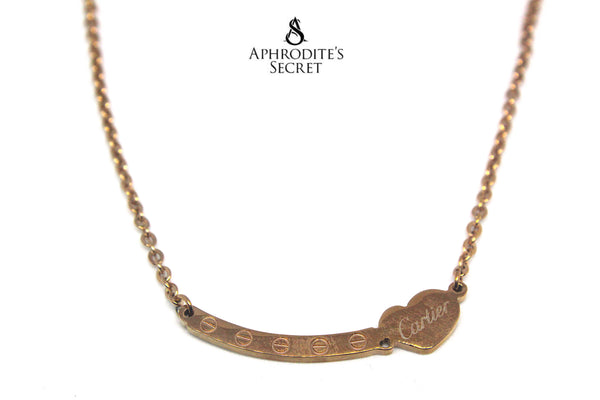High Quality Stainless Steel Necklace Cartier Heart Design (Rose Gold)