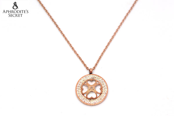 Aphrodite's Secret High Quality Stainless Steel Necklace Four Leaf Clover Medallion (Rose Gold)