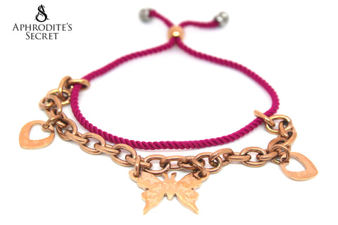 Aphrodite's Secret High Quality Adjustable Pink Strand Bracelet Stainless Steel Butterfly Heart Design