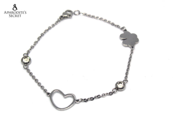 Aphrodite's Secret High Quality Stainless Steel Bracelet Classic Heart Petal Flower  Design