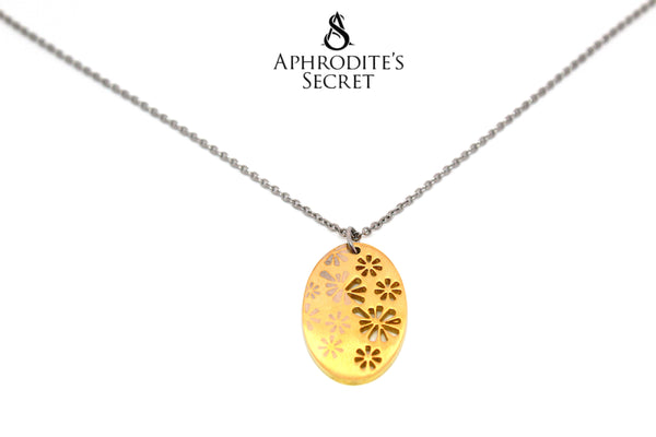 Aphrodite's Secret High Quality Stainless Steel Two Tone Oval Floral Design           Pendant + Necklace
