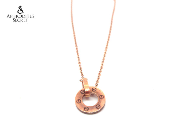 Aphrodite's Secret High Quality Stainless Steel Necklace Interlocking rings design (Rose Gold)