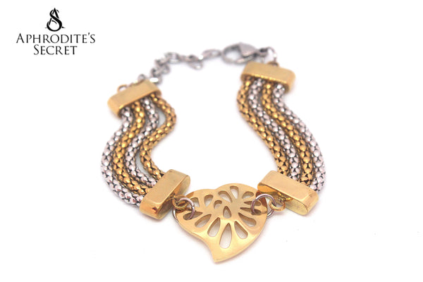 Aphrodite's Secret High Quality Stainless Steel Bracelet Two Tone Hearts Design