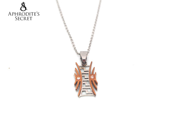 Aphrodite's Secret High Quality Stainless Steel Oriental Design Two Tone Pendant + Necklace