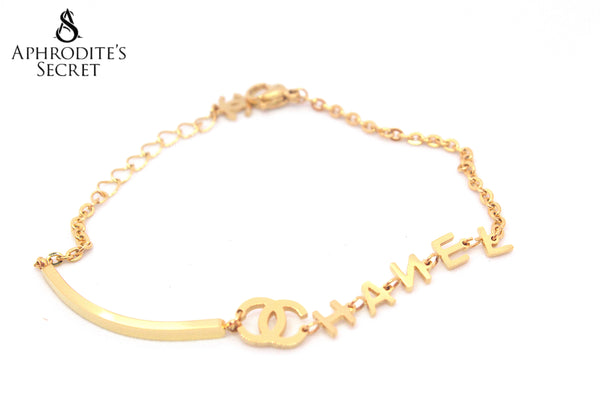 High Quality Stainless Steel Bracelet Chanel inspired Design (Gold)