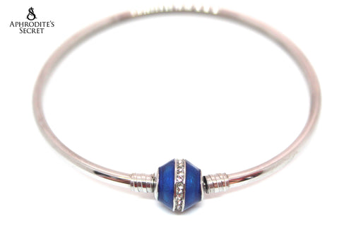 Aphrodite's Secret High Quality Blue Charm Bangle - (Pandora Inspired) Stainless Steel