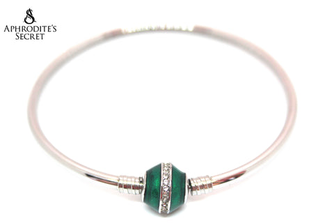 Aphrodite's Secret High Quality Green Charm Bangle - (Pandora Inspired) Stainless Steel