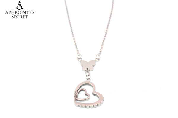 Aphrodite's Secret High Quality Stainless Steel Necklace Butterfly Dangling Heart design