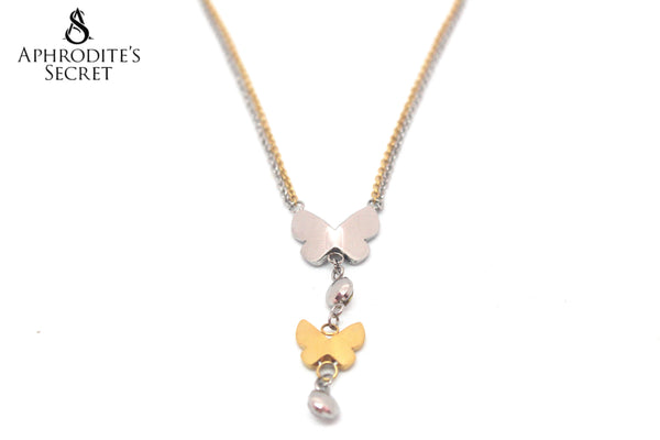 Aphrodite's Secret High Quality Stainless Steel Necklace  Two Tone Dangling butterfly design