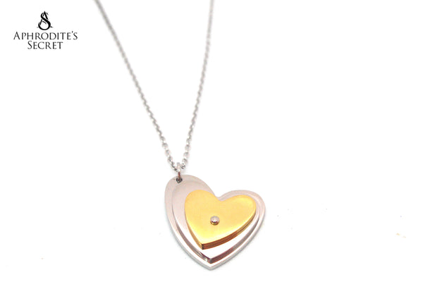 Aphrodite's Secret High Quality Stainless Steel  Necklace Two Tone Heart Sideway Design