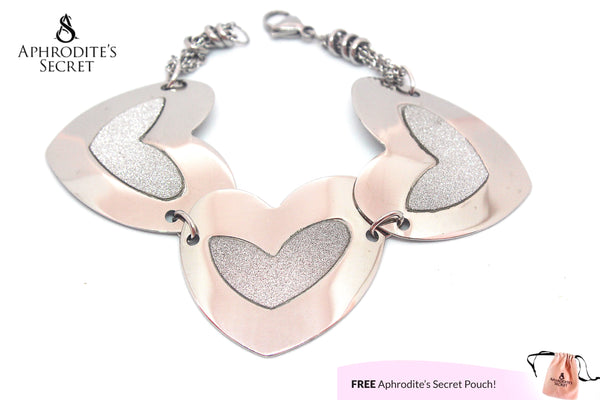 Aphrodite's Secret High Quality Stainless Steel  Big Bracelet  Heart Design