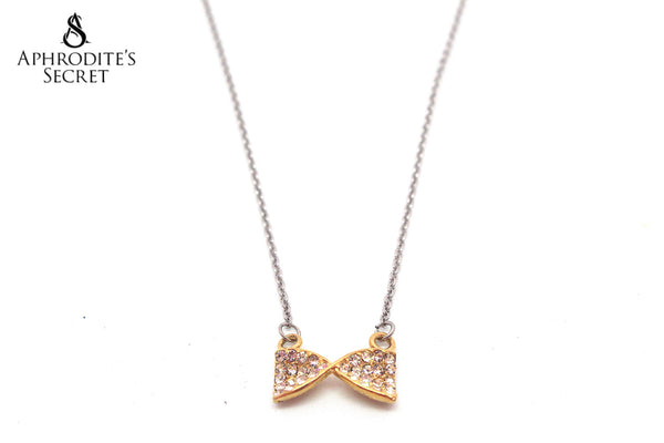 Aphrodite's Secret High Quality Stainless Steel Necklace Ribbon Two Tone Design