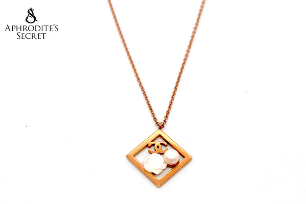 High Quality Stainless Steel Necklace Floral Pearl Chanel inspired Design  (Rose Gold)