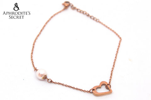 Aphrodite's Secret High Quality Stainless Steel  Heart & Pearl Design (Rose Gold)