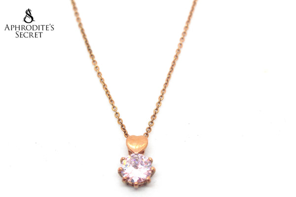 Aphrodite's Secret High Quality Stainless Steel Necklace Rhinestone design (Rose Gold)