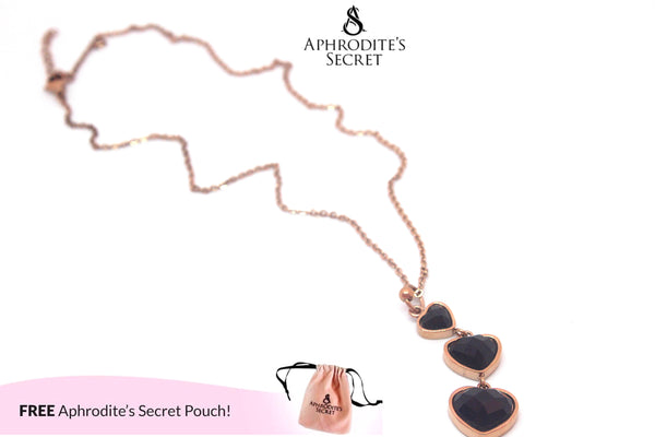 Aphrodite's Secret High Quality Stainless Steel Necklace Dangling Hearts (Rose Gold)